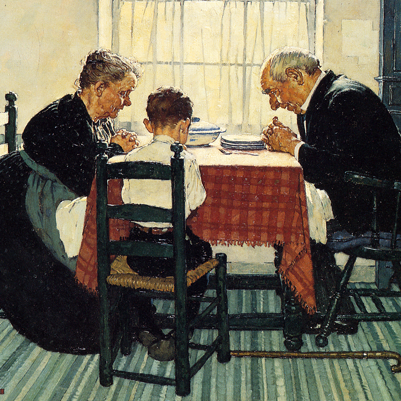 Norman Rockwell Family Dinner Painting