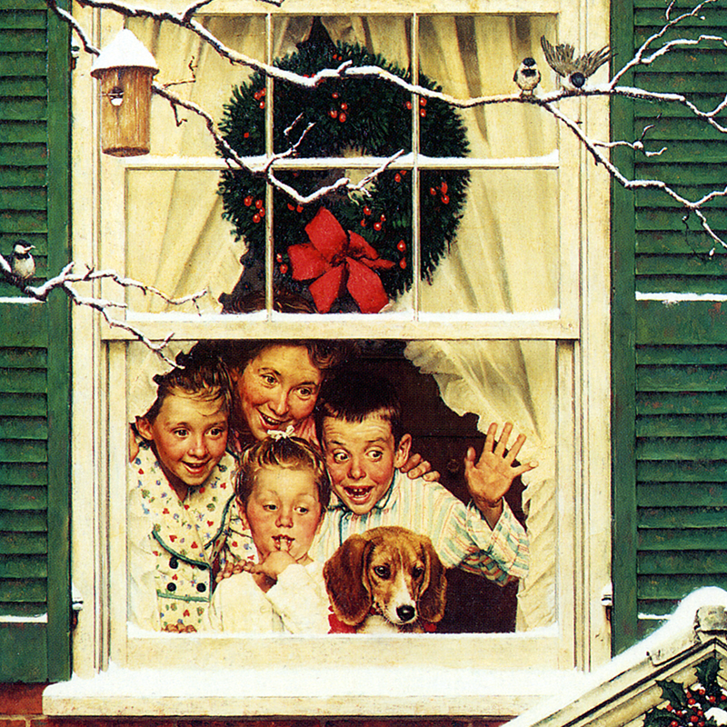 Norman Rockwell Painting of Children in Window