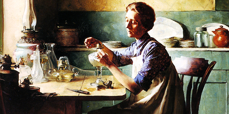 Norman Rockwell Painting of Woman at Table