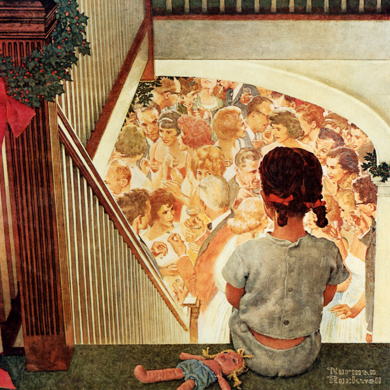 Norman Rockwell Painting of Girl Overlooking Party from Top Step