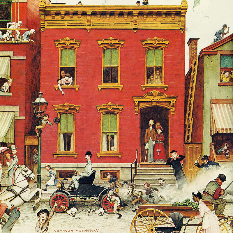 Norman Rockwell Painting of Bustling Street