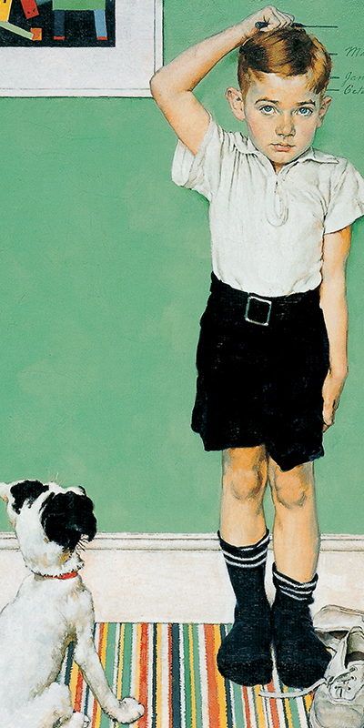 Norman Rockwell Painting of Boy and Dog