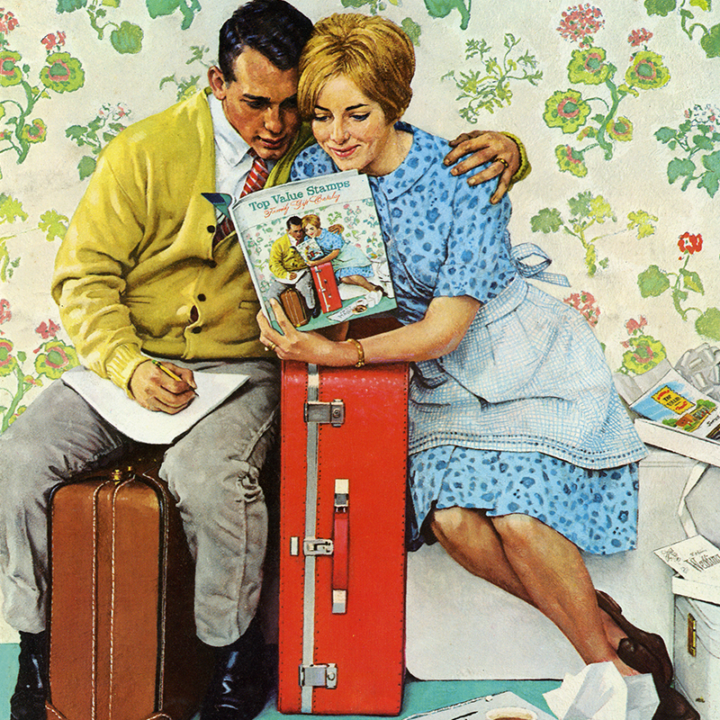 Norman Rockwell Painting of Couple with Suitcases