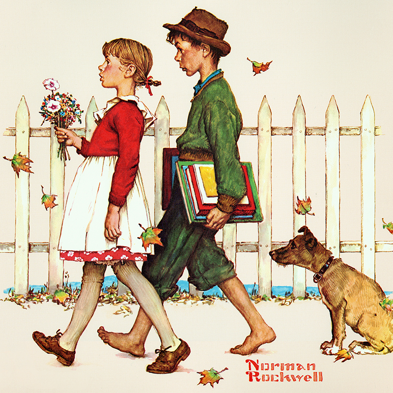 Norman Rockwell Painting of Kids Walking
