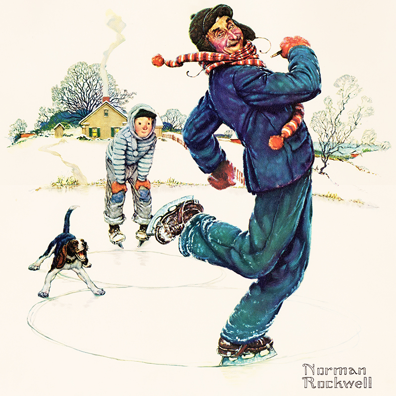 Norman Rockwell Painting of Man Ice Skating