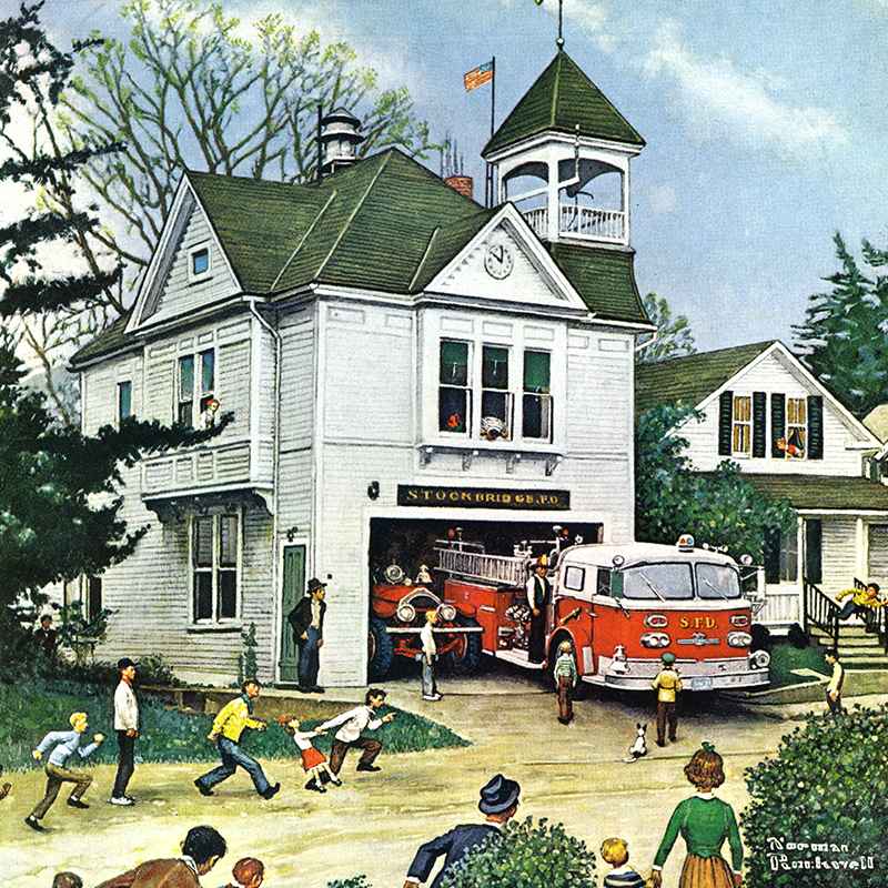 Norman Rockwell Painting of Fire Station