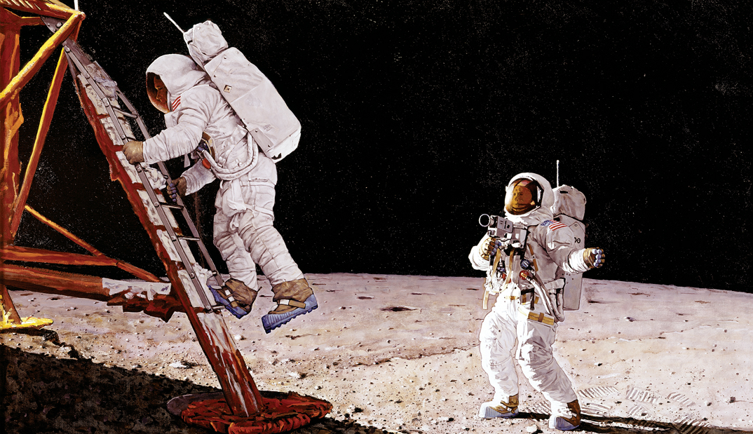 Norman Rockwell Moon Landing Painting
